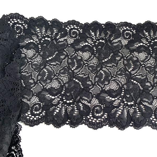 Бельевое эластичное кружево черное Лаума