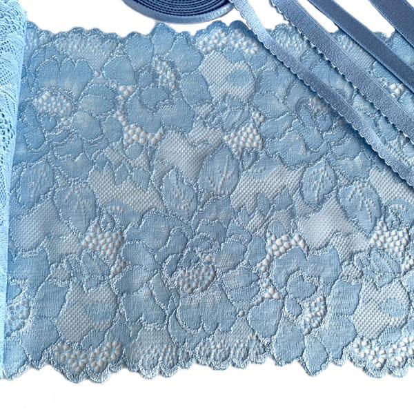 Кружево эластичное для нижнего белья 18см голубое