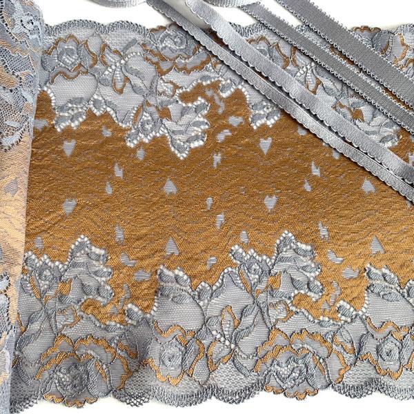 Кружево эластичное 22см серый+бронза