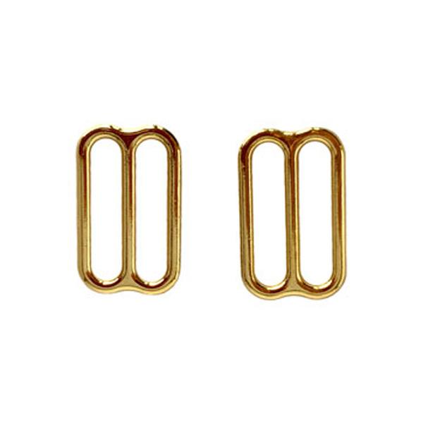 Регуляторы металлические для белья и купальников 15мм  2шт золото