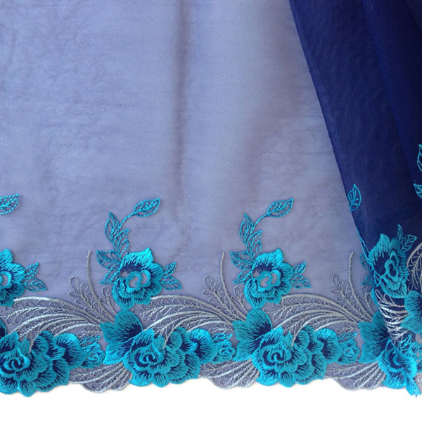 Вышивка на сетке 22см т-синий с бирюзовыми цветами неэластичная, ПРАВАЯ