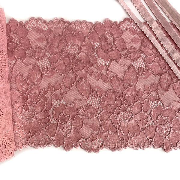 Кружево эластичное 18см пыльно-розовый