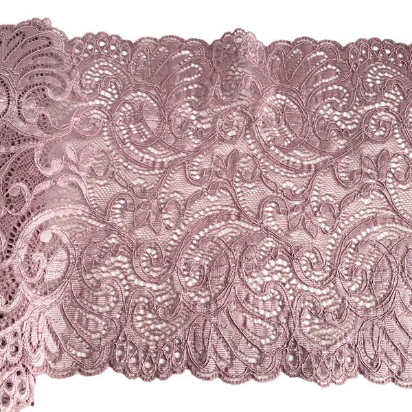 Кружево эластичное 19,5см пыльно-лиловый Лаума