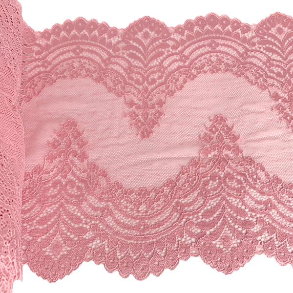 Кружево эластичное 22см кораллово-розовый