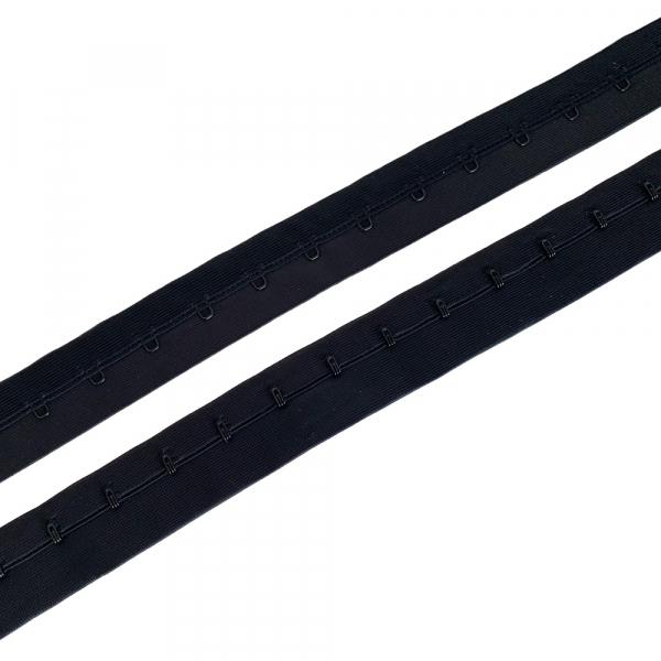 Застёжка крючки и петли на ленте, 1 ряд петель, шаг 19мм, чёрный