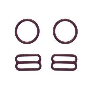 15мм Комплект металл (кольцо 2шт+регулятор 2шт) бургундское вино (1006)
