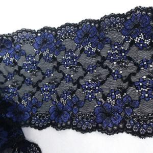 Кружево эластичное 16см чёрное c синими цветами