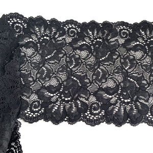 Кружево эластичное 18,5см черный Лаума