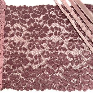 Кружево эластичное 22см лилово-розовый