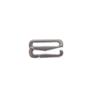 Крючок (застежка) 15мм металлический белая бронза (серебристый)