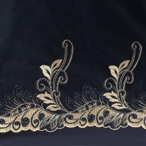 Вышивка на сетке 21см чёрный с золотом неэластичная, ЛЕВАЯ