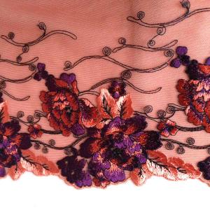 Вышивка на сетке 25см терракотовый с фиолетовыми цветами, неэластичная, ПРАВАЯ