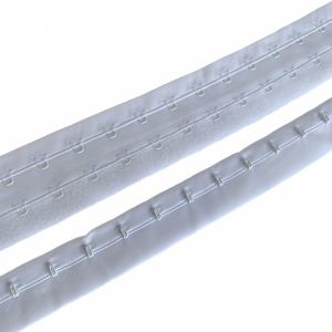Застёжка крючки и петли на ленте, 2 ряда петель, шаг 19мм, белый